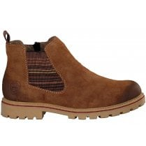 Rieker Ladies Brown Suede Ankle Boot With Multi Gusset