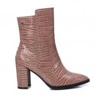 XTI Nude Croc Boot With Block Heel