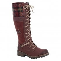 Rieker Ladies Long Boots with Zip and Laces - Wine Red