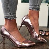 Tamaris Rose Metallic Pointed Court Shoes