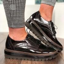 Tamaris Womens Maroon Patent Chunky Brogue Shoes