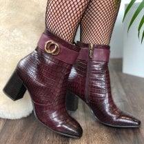 Tamaris Merlot Croc Ankle Boots