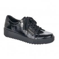 Rieker Ladies Black Patent Lace Up Wedge Shoes