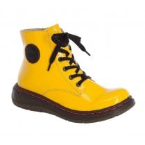 Rieker Yellow Patent Lace Up Ankle Boot