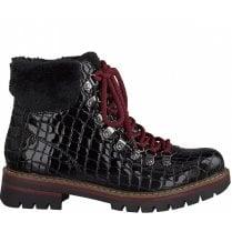 Marco Tozzi Ladies Black Croc Lace Up Ankle Boots