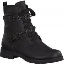 Marco Tozzi Ladies Black Lace Up Biker Boots