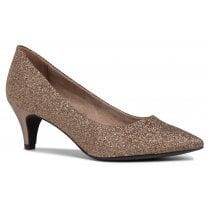 Tamaris Ladies Gold Glam Kitten Heel Court Shoes