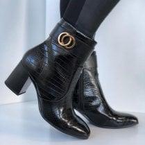 Tamaris Black Croc Ankle Boots