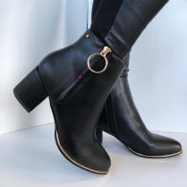 Escape Ladies Plute Black Heeled Ankle Boot