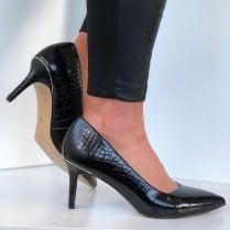 Tamaris Ladies Black Croc Pointed Courts