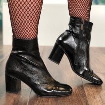 Perlato Ladies Black Patent Ankle Boots