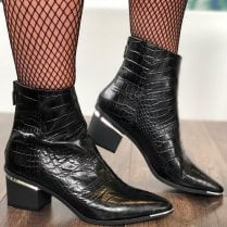 Perlato Ladies Black Croc Ankle Boots