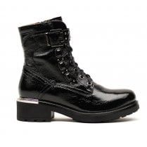 Nero Giardini Black Patent Leather Biker Boots