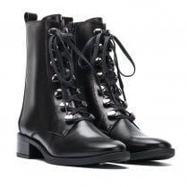 Unisa Eugen Black Leather Lace Up Mid Boots