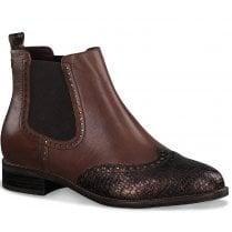 Tamaris Ladies Brown Chelsea Boot with Metallic Toe