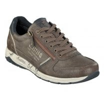 Mustang Mens Side Zip Sneaker - Dark Brown/Navy