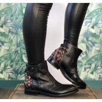 Nero Giardini Ladies Black/Animal Print Leather Booties
