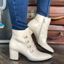 Kate Appleby Dunoon Cream Patent Ankle Boots