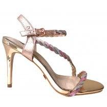 Una Healy Homecoming Queen Diamante Sandal - Pink/Silver
