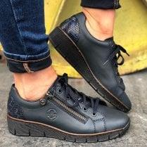 Rieker Ladies Wedge Shoes with Side Zip
