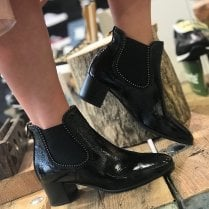 Nero Giardini Black Patent Heeled Ankle Boots