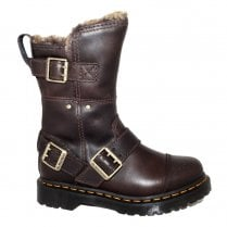 Dr Martens Womens Kirsty Mid Faux Fur Lined Leather Boots