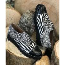 Daniela Ladies Black and White Mixed Animal Print Faux Pony Hair Shoe