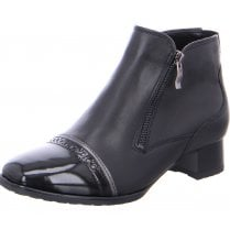 Ara Ladies Graz Black Leather Patent Mix Ankle Boot