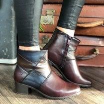 Heavenly Feet Ladies Suzie Burgandy Multi Ankle Boots