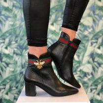 Daniela Ladies Black Leather Zip Up Boots with Bee Detail