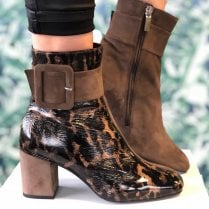 Perlato Ladies Suede/Animal Print Boots