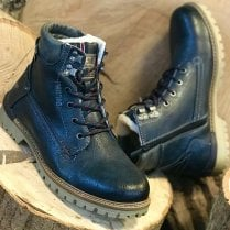 Mustang Mens Navy Lace & Zip Up Fur-lined Ankle Boots