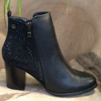 XTI Ladies Black Diamante Embellished Zip-Up Ankle Boot