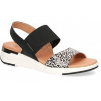 Caprice Ladies Black and Grey Leopard Print Sandals