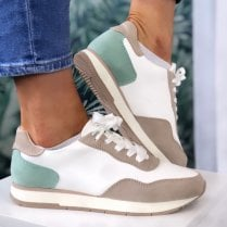 Tamaris Ladies White Beige and Turquoise Lace-Up Trainers