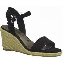 Tamaris Ladies Black Wedged Heel Sandal