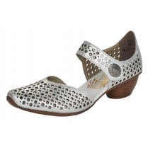 Rieker 43766 Silver Comfort Strap Heeled Shoes