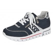 Rieker Ladies Navy and Silver Cleated Sole Trainers