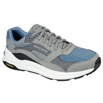 Skechers Mens Grey and Blue Machine Washable Global Joggers Trainers