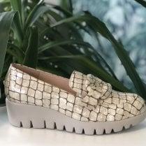 Wonders Wedge Loafer Shoes - Beige Croc