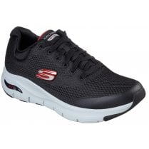 Skechers Mens Black Red Arch Fit Machine Washable Trainers