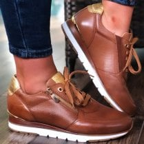 Marco Tozzi Ladies Cognac Brown Leather Trainer