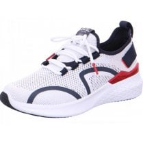 Ara Ladies Maya White Navy and Red Knit Trainer