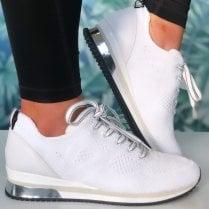 Marco Tozzi Ladies White Knit Lace-Up Trainer