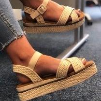 Refresh Ladies Beige Platform Woven Sandal