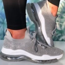 Xti Ladies Grey Diamonte Gel Sole Trainer