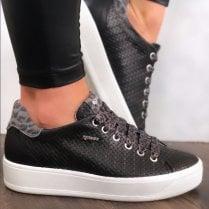 Igi&Co Ladies Black Textured Design Trainer