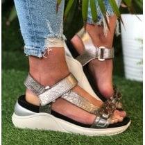 Hispanitas Ladies Ibiza Pewter Wedge Sandals