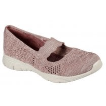 Skechers Ladies Mauve Seager Pitch Out Woven Shoes