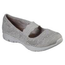 Skechers Ladies Taupe Seager Pitch Out Woven Shoes